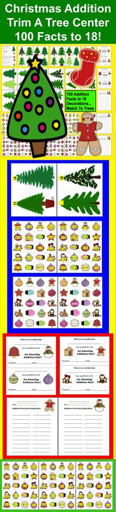 $ Christmas Addition Trim A Tree Math Center! 34 Page Download - 100 Addition Facts to 18 -   Match the Christmas Addition Fact Ornaments to the correct  Christmas Holiday Tree.