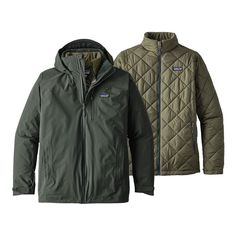 Not your father's jacket! This versatile Patagonia Men's Windsweep Jacket in Carbon can be worn as a shell, insulator, or waterproof, insulated jacket. 3 In 1 Jacket, Rain Jacket, Patagonia, Windbreaker, Raincoat, Jackets, Men, Fashion, Down Jackets