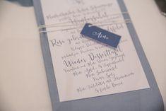 winter wedding Vienna, Austria, Klimtvilla, blue wedding,  ice blue, stationary, menu card, name tag blue, white twine, blue napkin photo: die Elfe Vienna Austria, Name Tags, Menu Cards, Wedding Stationary, Blue Wedding, Napkin, Twine, Planer, Names