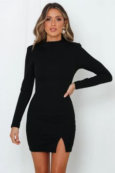 Get all the INSTA likes with our fabulous bodycon beauty, the Moonlight Confessions Dress. Black Dress Outfits, Black Bodycon Dress, Black High Neck Dress, Little Black Dress Outfit, Black Dress With Heels, Zara Black Dress, Black Dress With Sleeves, Elegant Outfit, Classy Dress
