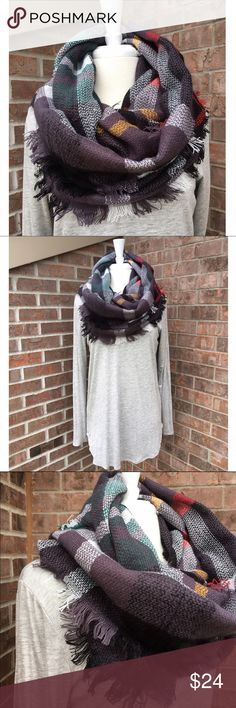Plaid Infinity Scarf NIP Beautiful infinity scarf by Infinity Raine.  PRICE FIRM unless bundled.                                                     ▪️100% Acrylic                                                              PayPal Trades Infinity Raine Accessories Scarves & Wraps