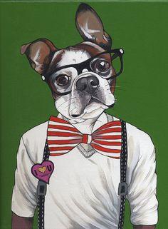 Hipster Dog Painting (23X30cm). blackspecs Etsy.