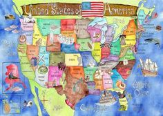 So I get requests for color changes occasionally from my customers on my maps...and I loved how this one turned out, so Im offering it in my shop! ROYAL BLUE United States!  United States of America childrens art map is a 18 x 24 wall poster that can be framed or pinned to the wall. It was originally done in pencil and watercolor and has been reproduced on thick kodak satin poster paper. Inspired by her childrens artwork, Marley Ungaro took to her watercolor palette and atlas to bring this…