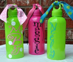 Be My Guest: Personalized Sports Water Bottles - Aluminum or Plastic Diva Party, Aluminum Water Bottles, Green Party, Pink And Green, Sports Bottles, Learning, Drinks, Crafts, Party Ideas