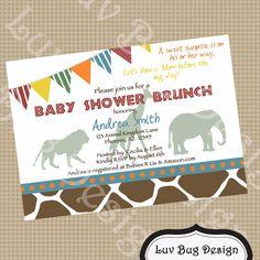 PRINTABLE Safari Baby Shower Invite Printable by luvbugdesign