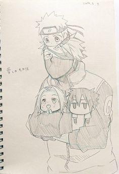 Kakashi with chibi Sasuke Sakura and Naruto Anime Naruto, Naruto Sasuke Sakura, Naruto Cute, Naruto Shippuden Anime, Anime Chibi, Manga Anime, Boruto, Gara Naruto, Kurama Naruto