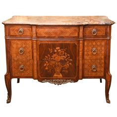 French Louis XV Style Marble-Top Marquetry Commode, Late 19th Century 1