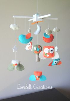 Baby Crib Mobile  Baby Mobile  Custom Baby Mobile  by LoveFeltXoXo, $170.00