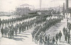 A battalion of Portuguese Marines departing for Angola in November 1914- aboard British ships.