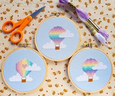 Pastel Rainbow Hot Air Balloon Series Easy by FuzzyFoxDesigns