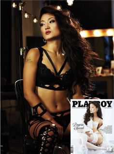 Playboy Magazine.  Model is wearing the Saint Louie Earrings.