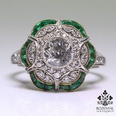 A beautiful antique diamond and emerald ring.