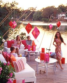"""Instructions at a Martha Stewart outdoor entertaining page called  """"Origami Lanterns."""""""