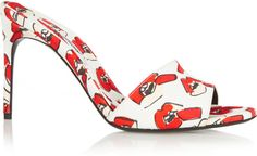 Brian Atwood + Donald Robertson Lallie Lips Printed Canvas Mules