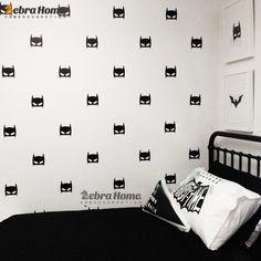 Hero Batman 18Pcs Mask Wall Decal Stickers DIY Baby Nursery Bedroom Home Decor Art Vinyl Mural Wallpaper For Kids Rooms 56X30CM