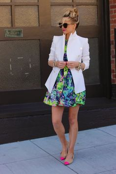 Neon colorful dress, white jacket