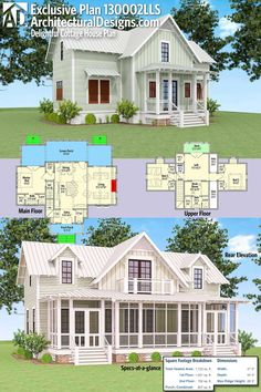 Architectural Designs Exclusive Delightful Cottage House Plan 130002LLS has large rear screened in porch with a deck off the loft above. and over 1,700 square feet. I would move kitchen and dining to where living room is, don't like a kitchen at my front door.