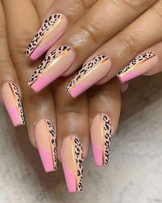Pink Cheetah Nails, Cheetah Nail Designs, Diamond Nail Designs, Leopard Print Nails, Cute Acrylic Nail Designs, Diamond Nails, Toe Nail Designs, Best Acrylic Nails, Nails Design