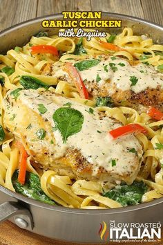 Tuscan garlic chicken and linguine (with video and giveaway) (the slow roas Linguine Recipes, Chicken Pasta Recipes, Granny's Recipe, Recipe Ready, Chicken Linguine, Healthy Dinner Recipes, Cooking Recipes, Mince Recipes, Pasta Facil