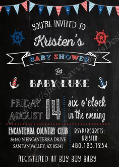 Chalkboard Nautical Baby Shower Invitation by SavvyDeetsDesigns