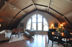 The dark vaulted ceiling is beautiful!