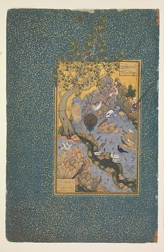 """""""The Concourse of the Birds"""", Folio from a Mantiq al-tair (Language of the Birds)  Habiballah of Sava (active ca. 1590–1610)  Poet: Farid al-Din `Attar (ca. 1142–1220) Object Name: Illustrated manuscript, folio Reign: Shah `Abbas I (1587–1629) Date: ca. 1600 Geography: Iran, Isfahan Medium: Ink, opaque watercolor, gold, and silver, on paper Dimensions: Painting: H. 10 in. W. 4 1/2in. Page: H. 13 in. (33 cm) W. 8 3/16 in.  Mat: H. 19 1/4 in. W. 14 1/4 in.   @metmuseum"""