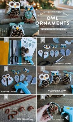 Welcome fall with this DIY pinecone owl ornament tutorial! Pinecone Owls, Pinecone Ornaments, Owl Ornament, Diy Christmas Ornaments, Christmas Decorations, Christmas Tables, Felt Ornaments, Pinecone Christmas Crafts, Owl Christmas Tree
