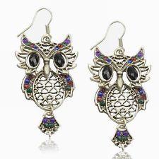 CZ Popular Rhinestone Diamante Hollow Retro Owl Eardrop Hook Dangle Earrings