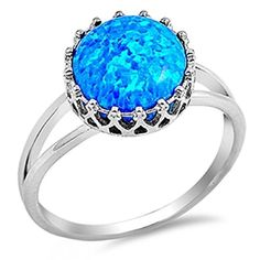 Sterling Silver CROWN SYNETHIC BLUE LAB OPAL Ring 8 -- Click image for more details. Note: It's an affiliate link to Amazon.