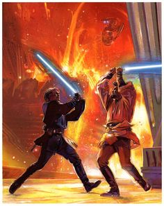 Star Wars - Anakin Skywalker vs Obi Wan Kenobi by Tommy Lee Edwards Anakin Vs Obi Wan, Anakin Vader, Darth Vader, Anakin Skywalker, Star Wars Saga, Star Wars Fan Art, Star Wars Jedi, Star Wars Books, Star Wars Characters