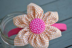 orange and hot pink flower headband by YeauxYeauxBows on Etsy, $12.00
