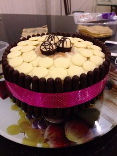 Dark Chocolate Fingers & White Button, Sponge & Cream Celebration Cake. Looks impressive but is so easy and quick to make!