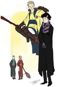 Love this crossover! John flirting with Sherlock!is that Mystrade I see happening back there? Sherlock Fandom, Sherlock Holmes Bbc, Watson Sherlock, Sherlock John, Jim Moriarty, Sherlock Quotes, Johnlock, Sarah Andersen, Hogwarts
