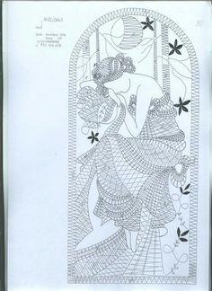 Mucha in Bobbin Lace Crochet Motif, Crochet Patterns, Bruges Lace, Bobbin Lacemaking, Cutwork Embroidery, Bobbin Lace Patterns, Lace Heart, Point Lace, Needle Lace