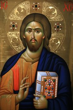 http://cache2.allpostersimages.com/p/LRG/66/6696/4H5A100Z/posters/kumar-julian-christ-pantocrator-icon-at-aghiou-pavlou-monastery-on-mount-athos.jpg Christ Pantocrator icon at Aghiou Pavlou Monastery on Mount Athos