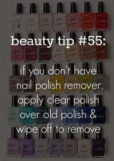 101 beauty tips every girl should know - if you don't have remover, use clear nail polish. I might just use this instead of nail polish remover! Beauty Tips Every Girl Should Know, Beauty Tips For Girls, Beauty Secrets, Diy Beauty, Beauty Hacks, Beauty Care, Beauty Products, Beauty Essentials, Homemade Beauty