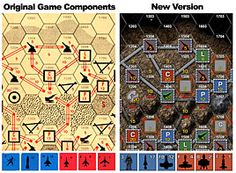 A comparison of the game components in the original printed game and the digital redesign for BGE