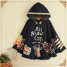 Cute harajuku hooded cat cape coat