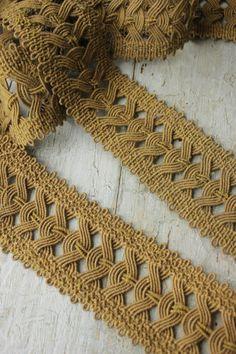 Gorgeous antique French Passementerie  ~ Napoleon III ~1850-1860 ~ wonderful hand woven trim ~ www.textiletrunk.com