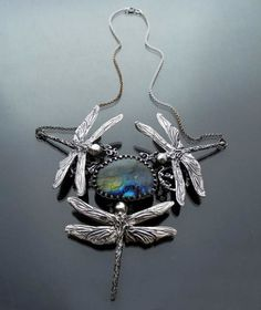 Dragonfly Pond | SILVER NECKLACE WITH LABRADORITE - product images  of