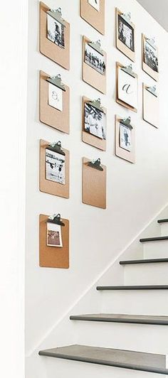 Hang clipboards on the wall for an easy photo gallery. You can switch out new photos whenever you want, display your kids artwork, and more! Love this DIY home decor idea. Diy Home, Easy Home Decor, Cheap Home Decor, Diy Tumblr, Ideas Para Organizar, Home And Deco, Photo Displays, Home Remodeling, Home Improvement