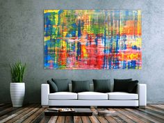 Buntes Acrylbild abstrakt spachtel Technik modern 120x200cm von xxl-art.de