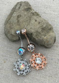 Flower Dangle Belly Button Ring Dangle Belly Button Ring