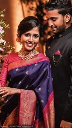 #bridaljewellerypink Christian Wedding Sarees, Saree Wedding, Wedding Attire, Engagement Saree, Engagement Dresses, Indian Bridal Outfits, Bridal Dresses, Indian Wedding Couple Photography, Saree Jewellery
