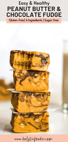 This healthy peanut butter fudge has swirls of chocolate and is completely dairy free and sugar free! Made with just four simple ingredients, this easy fudge recipe is perfect when you want a healthy dessert quick. Learn how to make this homemade healthy no bake fudge now! Low Sugar Desserts, Fudge Recipes, Healthy Dessert Recipes, Yummy Recipes, Yummy Food, Healthy Fudge, Healthy Peanut Butter, Healthy Baking, Gluten Free Treats