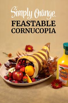 This edible DIY centerpiece will elicit a cornucopia of compliments this Thanksgiving. Stuff it with your favorite treats for a beautiful centerpiece that can also serve as dessert. Glazed with the delicious, fresh-squeezed taste of Simply Orange®, it will end your meal just right.