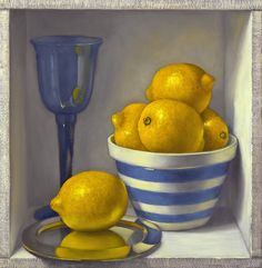 Lemons With Blue Striped Bowl