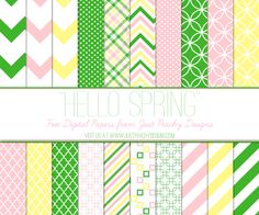 Just Peachy Designs: Free Digital Paper: Pink, Green and Yellow