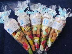 Personalised pre filled Baby Shower boy/blue 75g sweet cones party bag filler