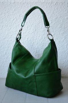 JOLIE MEDIUM GREEN--leather bags Adeleshop hobo laptop messenger satchel shoulder cross body. $150.00, via Etsy.